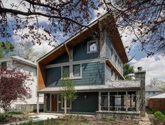 Designed by Tom Bassett-Dilley Architect and built by Evolutionary Home Builders, this Passive House-certified home in Illinois features nontoxic finishes and materials, Greenguard-certified drywall, unfinished salvaged wood, and continuous filtered ventilation. The owners put a premium on healthy indoor air quality due to a family member's allergies.