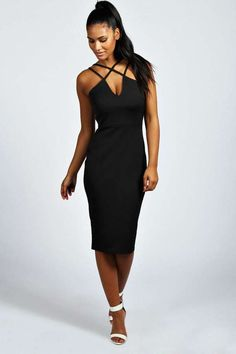 $35, Black Bodycon Dress: Boohoo Clara Strappy Detail Bodycon Midi Dress. Sold by BooHoo. Click for more info: https://lookastic.com/women/shop_items/154794/redirect