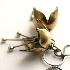 Petite Bell Flower Earrings - Bronze And Sterling Silver Artisan Earrings - Metalwork Jewelry Hair Jewelry, Photo Jewelry, Bronze, Flower Earrings, Dangle Earrings, Flower Jewelry, Unique Earrings, Bar Necklace, Making Ideas