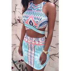 Stylish Round Neck Sleeveless Printed Crop Top + High-Waisted Skirt Women's Twinset