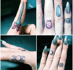 Finger // knuckle tattoos ❥ unicorn. crystal ball