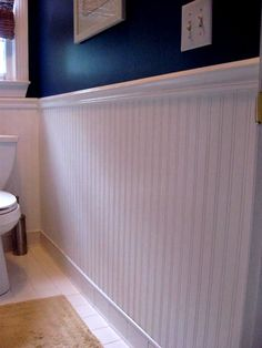 Redecorating With Wainscoting? - Check Out Beadboard Paneling - Wainscoting Ideas - Look Wallpaper, Bathroom Wallpaper, Bead Board Wallpaper, Bathroom Mirrors, Bathroom With Wainscotting, Wainscoting Bathroom, Nautical Bathrooms, Small Bathroom, Bathroom Ideas