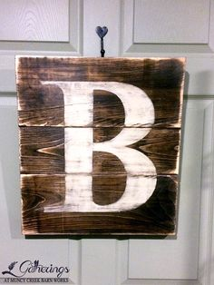 Lg. Distressed Monogram Plank Sign | from Gatherings at Muncy Creek Barn Works