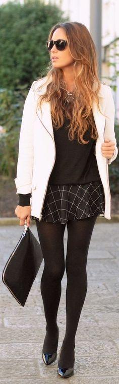 Fashionista: Nice Style White Blazer,Black Sweater and Mini Dress