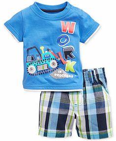 Kids Headquarters Baby Boys' 2-Piece Tee & Plaid Shorts