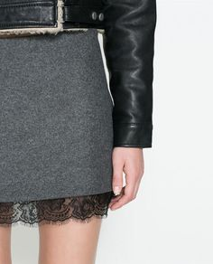 Image 4 of WOOL SKIRT WITH LACE HEM from Zara