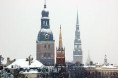 Old Town's Winter Skyline. Riga.