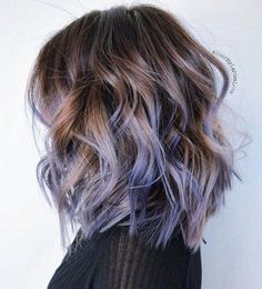 Brown hair match lavender purple ombre, this long bob hairstyle is amazing