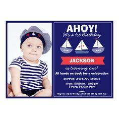 Photo Nautical Sail Boats Birthday Invitation