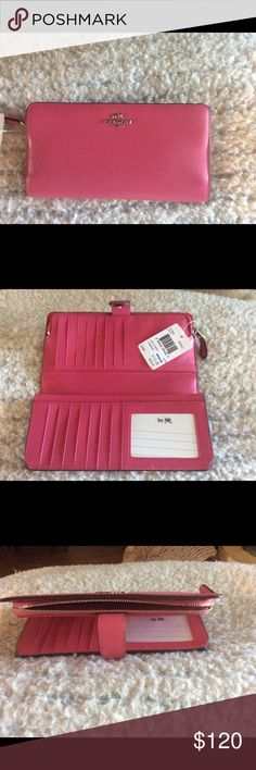 "Coach Madison Leather wallet in dahlia pink Coach Madison Leather skinny wallet#51936 in Dahlia pink. Two compartments, the front compartment unzips to one large pocket. The back section has a tab close with a snap, opens up to 15 card slots. 1 clear ID window, 2 slip pockets and one multi purpose pocket. Measures 8"" long x 4""wide x 1"" deep. Pink leather interior. Brand new never used, still with tags attached. Coach Bags Wallets"