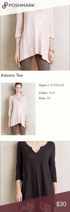 Anthropologie Adama Tee Anthropologie's Pure + Gold top in pink! Cotton front and cotton and woven rayon in the back. Wore once and is perfect for layering with a long cardigan or vest and leggings and booties. This top sold out online and received rave reviews! In pristine condition and deserves to be worn. Anthropologie Tops