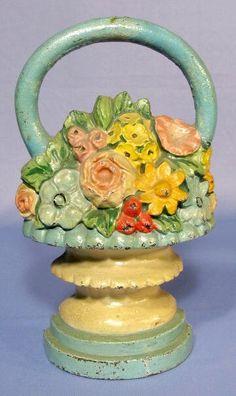 Cast Iron Flower Basket Door Stop