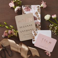 Swoon over new stylish invites. Blooming back of card designs included.