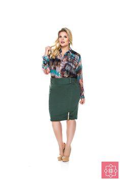 Saia Franzido Plus Nítido Jeans #viaevangelica #nitidojeans #modaevangelica #modafeminina