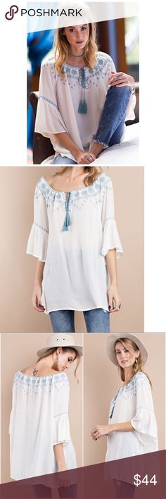🔴Final Price 🔴 Bell Sleeve Embroidered Tunic S,M Light and soft woven Rayon creep on bell sleeve Tunic.  Has embroidered detailing.  Off the shoulder loose fit Tunic.  Fabric Content: 100%RAYON. Personal note bin smaw. Tops Tunics