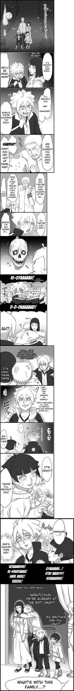Halloween!! Aww Naruto's so cute hanging on to Hinata like that!