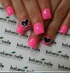Hot pink heart nails