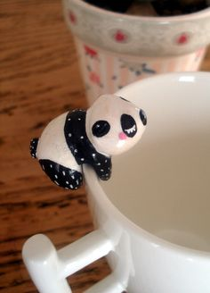 """Attache-thé """"Mon Panda"""" oMamaWolf figurine en porcelaine froide"""