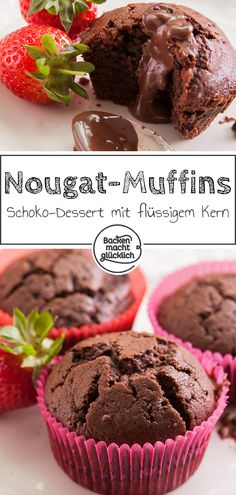 Wunderbar schokoladige Törtchen, die mit Nuss-Nougat-Creme gefüllt sind. Die Nougatmuffins eignen sich mit Eiscreme oder Früchten gut als Dessert. Sweet Cakes, Vegan Snacks, Food Porn, Food And Drink, Cooking Recipes, Sweets, Baking, Breakfast, Sweet Treats