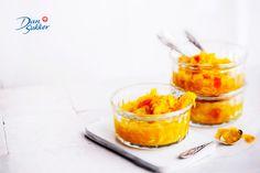 Keltainen kesäkurpitsa-pikkelsi Pudding, Desserts, Food, Turmeric, Red Peppers, Tailgate Desserts, Deserts, Custard Pudding, Essen