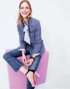 J.Crew women's Regent blazer in purple houndstooth, Collection Thomas Mason for J.Crew cocktail shirt, Point Sur Stevie X-rocker jean with nicking in Hyacinth wash and satin colorblock pumps in deep navy.