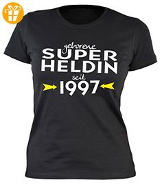 Damen T-Shirt zum Geburtstag: Geborene Super Heldin seit 1997 - Tolle Geschenkidee - Baujahr 1997 - Farbe: schwarz (*Partner-Link)