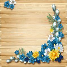 Blue flower corner decor with wooden background vector - WeLoveSoLo Boarder Designs, Frame Border Design, Flower Background Wallpaper, Flower Backgrounds, Wooden Background, Flower Frame, Flower Art, Boarders And Frames, Powerpoint Background Design