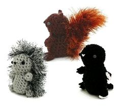 Squirrel, Hedgehog, Mole amigurumi PDF CROCHET PATTERNS - Mini Fuzzies Woodland Creatures