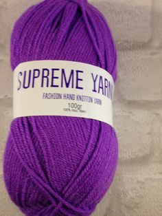 Supreme Yarns purple 100 gram ball of mixed fibre Acrylic, Knitting, Crochet ,Looming,Double Knit by Bitsandbobstopia on Etsy Cheap Yarn, Mixed Fiber, Double Knitting, Yarns, Supreme, Knitted Hats, Winter Hats, Purple, Trending Outfits