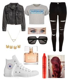 """Untitled #239"" by dounia-bts-swag ❤ liked on Polyvore featuring River Island, Converse, H&M, Être Cécile, Yves Saint Laurent, tarte, Luv Aj, Banana Republic and Givenchy"