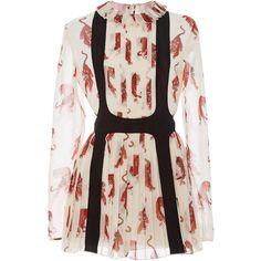 Giamba Long Sleeve Tiger Print Dress ($2,150) ❤ liked on Polyvore featuring dresses, pleated dresses, long-sleeve mini dress, pink dress, longsleeve dress and pleated mini dress