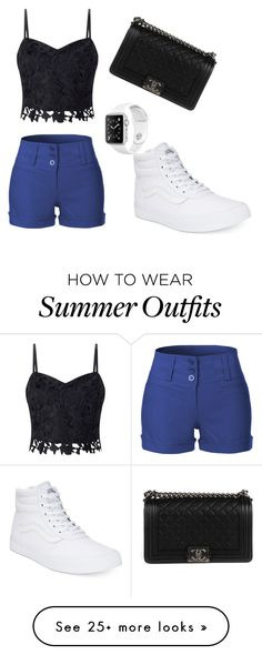 """summer outfit"" by nene-gibson on Polyvore featuring Lipsy, LE3NO, Chanel and Vans"