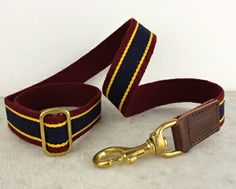 Dog Lead - burgundy with blue and yellow stripes