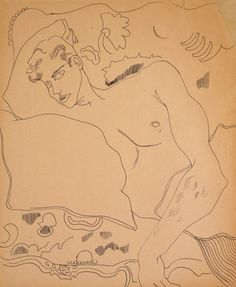 Andy Warhol (American, 1928-1987)     Reclining Male Torso, 1950s      ballpoint ink on Manila paper     16 3/4 x 14 in. (42.5 x 35.6 cm.)     The Andy Warhol Museum, Pittsburgh; Founding Collection,