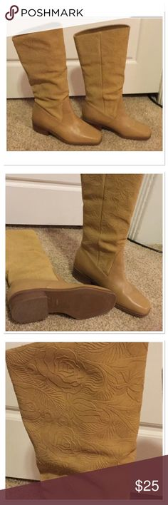 Leather Tan Boots Beautiful tan leather boots with flower design details, worn once, excellent condition Suela Shoes Heeled Boots