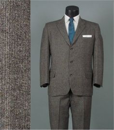 Vintage 1950s Mens Suit -- Multi-Color Flecked Tweed - 3 Button Front Skinny Lapel Jacket and Trousers -- 41/42 Short