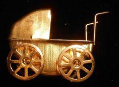 metal gold baby buggy dollhouse miniatures fairy garden furniture