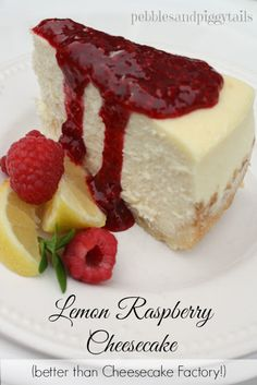 Lemon Raspberry Cheesecake How to make the perfect raspberry lemon cheescake that's better than Cheesecake Factory. One of our most popular recipes at Making Life Blissful! - BETTER than Cheesecake Factory! Lemon Cheesecake Recipes, Lemon Recipes, Oreo Cheesecake, Cheesecake Factory Lemon Raspberry Cheesecake Recipe, Cheesecake Factory Recipes, Pumpkin Cheesecake, Food Cakes, Cupcake Cakes, Just Desserts