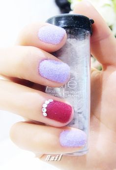 Red velvet nail Velvet Nails, Dancing In The Dark, Manicure And Pedicure, Beauty And The Beast, Red Velvet, Nail Colors, Nail Designs, Colorful Nails, Nail Polish