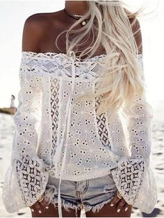 Women Bell Sleeve Off Shoulder Lace Blouse Sexy Slash Neck Hollow Out Patchwork Lace Shirt Blusa Feminina Tassel Casual Blouses Tee Shirt Dentelle, Blouse Sexy, Girls Blouse, Long Blouse, Blouse Dress, Ruffle Blouse, Bluse Outfit, Mode Hippie, Summer Dress