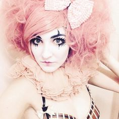 Clown girl @charlottevka wearing our Cotton Candy/ Candy Floss Wig With Crystal Sparkle Bow For more, visit our #Etsy store