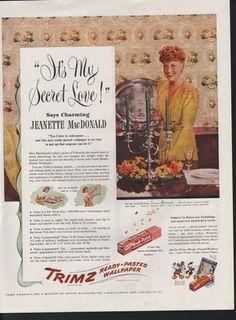 1945 Trimz Ready Paste Wallpaper Jeanette Macdonald Home Decor Kitchen Stick   eBay
