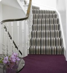 Vogue by Brockway Carpets - Opulence Stripe on the stairs with Morello on the landing. Stairway Carpet, Carpet Stairs, Carpet Flooring, Striped Carpets, Carpet Manufacturers, Hall Runner, Textured Carpet, Cheap Carpet Runners, Home Hardware