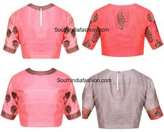 Simple Raw Silk Embroidered Blouse Designs
