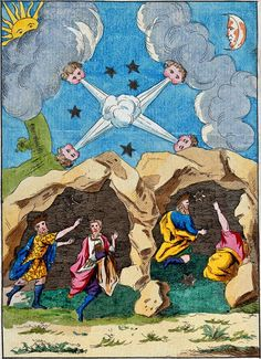 Mercury's conversion into sulphur, at the moment of its fixation in the alchemical process, is here symbolized by the magi sheltering in a cave on the way to Bethlehem. A colored 17th century etching