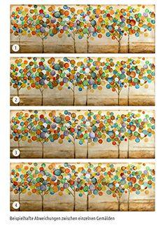 KunstLoft® Acryl Gemälde 'Buntes Herbstlaub' 150x50cm | original handgemalte Leinwand Bilder XXL | Bunte abstrakte Bäume im Wald auf Beige mit Gold | Wandbild Acrylbild moderne Kunst mit Rahmen: Amazon.de: Küche & Haushalt