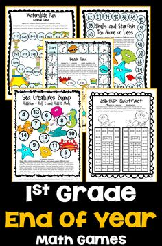 End of the Year Math Games for First Grade: Summer Packet Activities End Of School Year, End Of Year, Summer School, First Grade Teachers, First Grade Math, Grade 1, Math Games, Math Activities, Maths