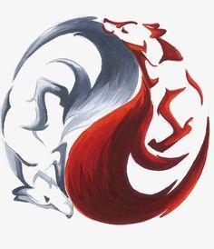 Yin Yang Kitsune by RHPotter on DeviantArt Wolf Tattoos, Yin Yang Tattoos, Body Art Tattoos, Tattoo Art, Cute Drawings, Animal Drawings, Drawing Animals, Fuchs Illustration, Fuchs Tattoo