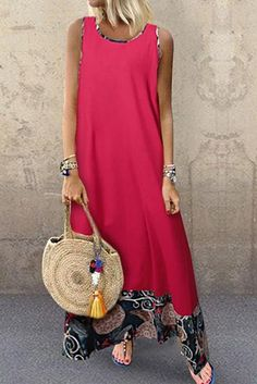Female National Wind Loose Cotton Vest Long Sleeveless Casual Maxi Dress Source by Casual Dresses, Fashion Dresses, Maxi Dresses, Casual Outfits, Long Dresses, Party Dresses, Prom Dress, Beautiful Dress Designs, Bikini