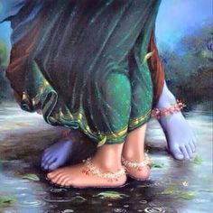 Lotus Feet of Krishna & Radha by Artist Hariom Hitesh Singh Krishna Radha, Hare Krishna, Radha Krishna Love Quotes, Krishna Leela, Lord Krishna Images, Radha Krishna Pictures, Radha Rani, Radha Krishna Paintings, Krishna Flute